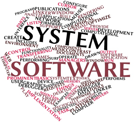 Abstract word cloud for System software with related tags and terms Stock Photo - 16049396
