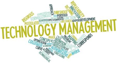 技術および管理に関連するタグ用語の抽象的な言葉の雲 写真素材