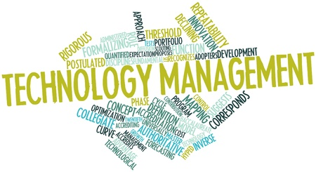 Abstract word cloud for Technology management with related tags and terms Stock Photo - 16048027