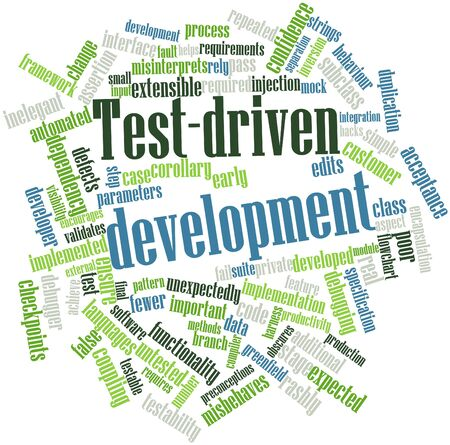 assertion: Abstract word cloud for Test-driven development with related tags and terms Stock Photo