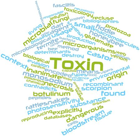 toxin: Abstract word cloud for Toxin with related tags and terms Stock Photo