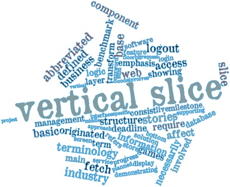 Abstract word cloud for Vertical slice with related tags and terms Stock Photo - 16048721