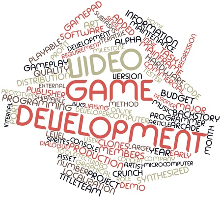 microcomputer: Abstract word cloud for Video game development with related tags and terms