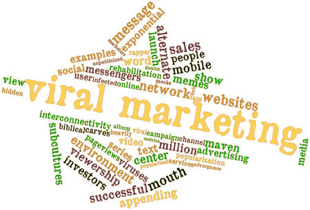 pageviews: Abstract word cloud for Viral marketing with related tags and terms Stock Photo