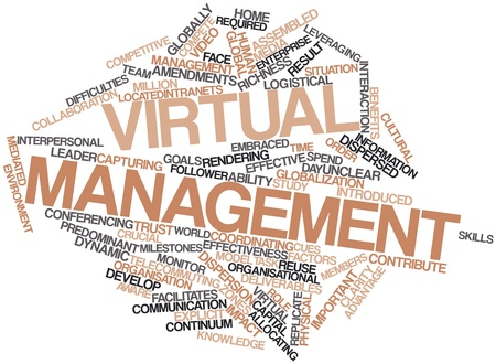deliverables: Abstract word cloud for Virtual management with related tags and terms Stock Photo