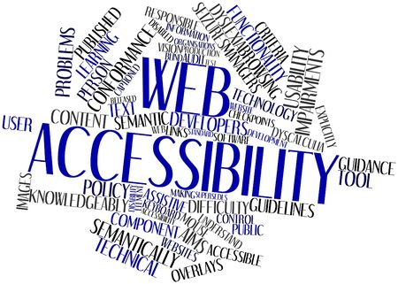 conformance: Abstract word cloud for Web accessibility with related tags and terms Stock Photo