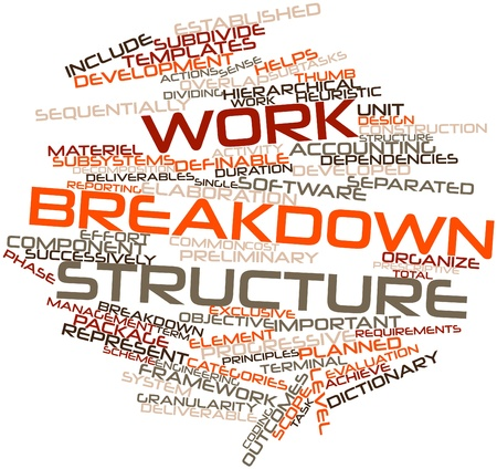 deliverable: Abstract word cloud for Work breakdown structure with related tags and terms