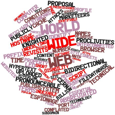 identifiable: Abstract word cloud for World Wide Web with related tags and terms Stock Photo