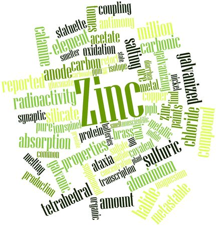 antimony: Abstract word cloud for Zinc with related tags and terms Stock Photo