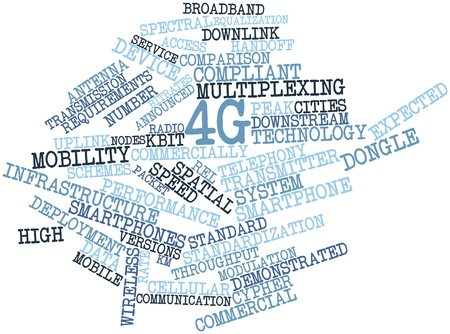 announced: Abstract word cloud for 4G with related tags and terms