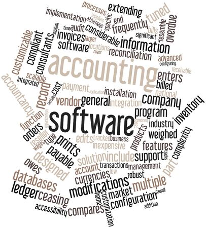 Abstract word cloud for Accounting software with related tags and terms photo