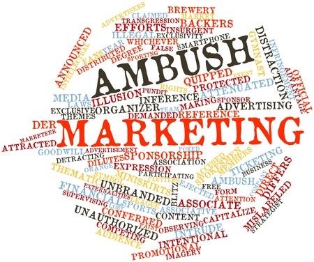 trasgressione: Word cloud astratto per Ambush marketing con tag correlati e termini Archivio Fotografico