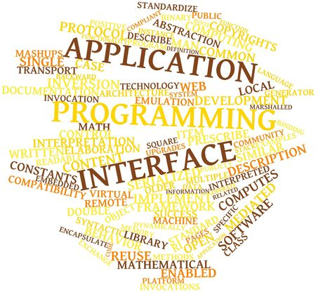 compliant: Abstract word cloud for Application programming interface with related tags and terms Stock Photo