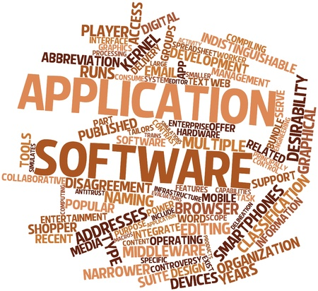 antitrust: Abstract word cloud for Application software with related tags and terms