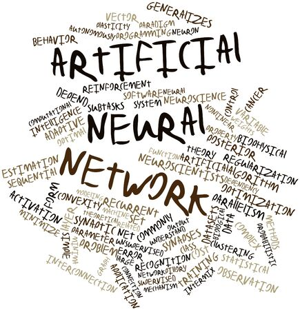 neural: Abstract word cloud for Artificial neural network with related tags and terms Stock Photo