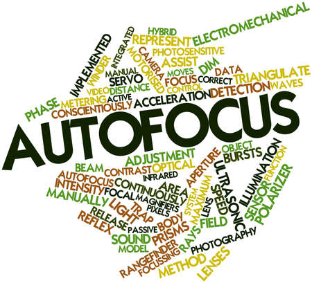 Abstract word cloud for Autofocus with related tags and terms Stock Photo - 16084091