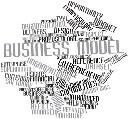 organisational: Abstract word cloud for Business model with related tags and terms