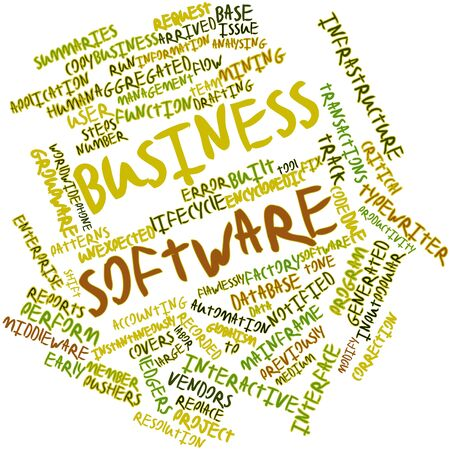 middleware: Abstract word cloud for Business software with related tags and terms