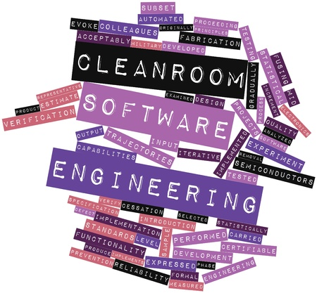 statistically: Abstract word cloud for Cleanroom software engineering with related tags and terms Stock Photo