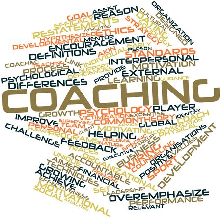 premise: Abstract word cloud for Coaching with related tags and terms Stock Photo