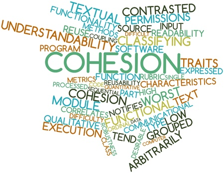 Abstract word cloud for Cohesion with related tags and terms Stock Photo - 16084017