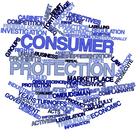 Abstract word cloud for Consumer protection with related tags and terms