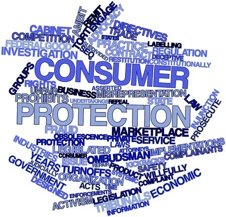 consommateurs: Nuage de mots abstraits pour la protection des consommateurs avec des �tiquettes et des termes connexes