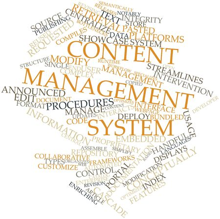 ensures: Abstract word cloud for Content management system with related tags and terms
