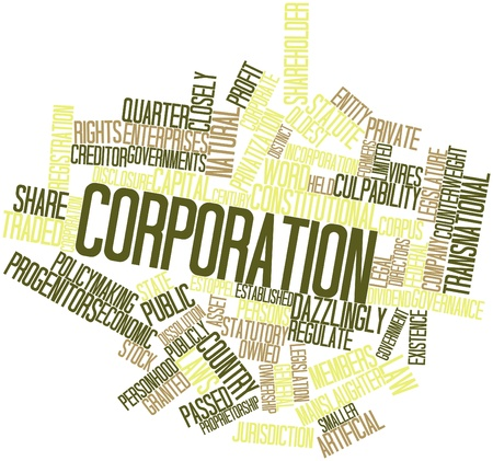 owned: Abstract word cloud for Corporation with related tags and terms