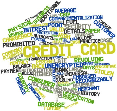 issuer: Abstract word cloud for Credit card with related tags and terms