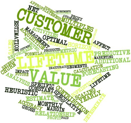 intuitive: Abstract word cloud for Customer lifetime value with related tags and terms Stock Photo