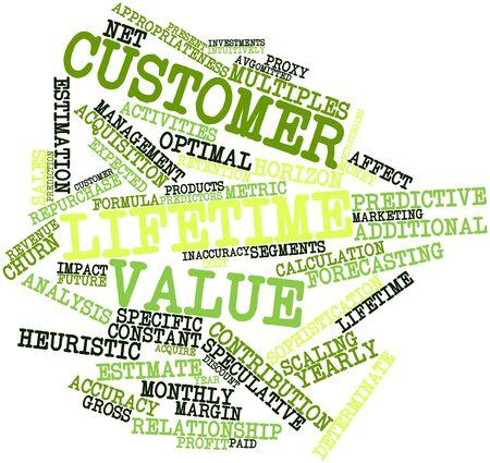 predictive: Word cloud astratto per il lifetime value dei clienti con tag correlati e termini Archivio Fotografico