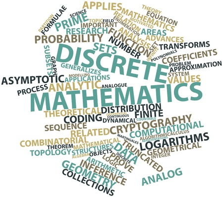 discrete: Abstract word cloud for Discrete mathematics with related tags and terms