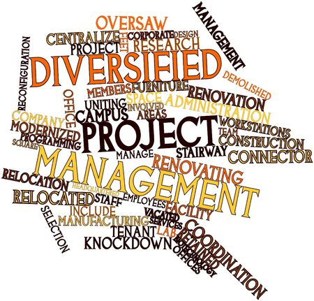 encourage: Abstract word cloud for Diversified Project Management with related tags and terms