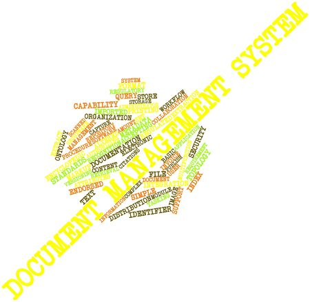 archiving: Abstract word cloud for Document management system with related tags and terms