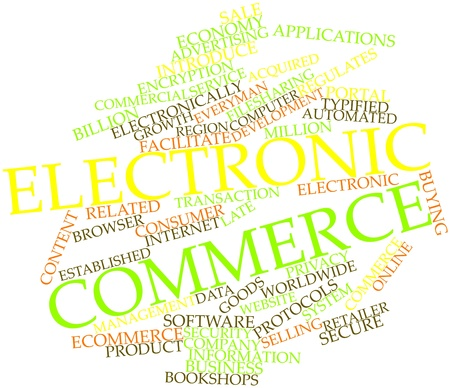 Abstract word cloud for Electronic commerce with related tags and terms photo