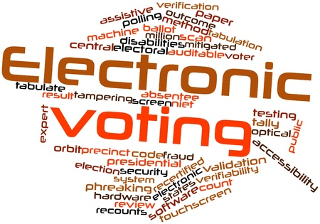 tabulation: Abstract word cloud for Electronic voting with related tags and terms Stock Photo