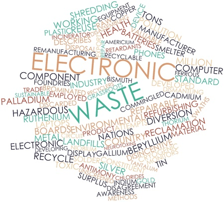 discarded: Abstract word cloud for Electronic waste with related tags and terms Stock Photo