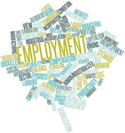 minimum wage: Abstract word cloud for Employment with related tags and terms
