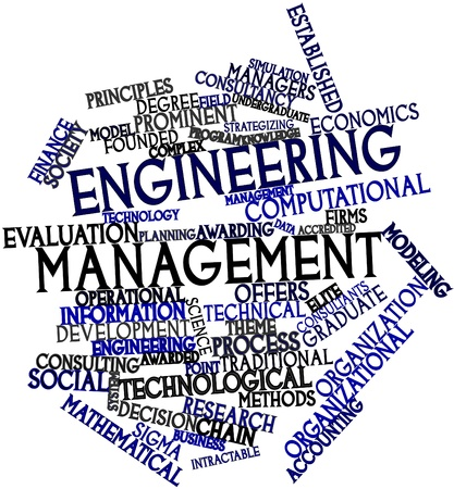 awarded: Abstract word cloud for Engineering management with related tags and terms