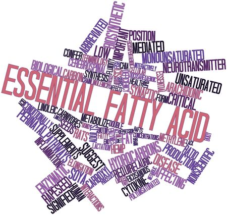 conditionally: Abstract word cloud for Essential fatty acid with related tags and terms Stock Photo