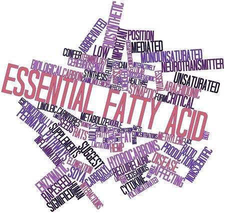 abbreviated: Word cloud astratto per Acidi grassi essenziali con tag correlati e termini