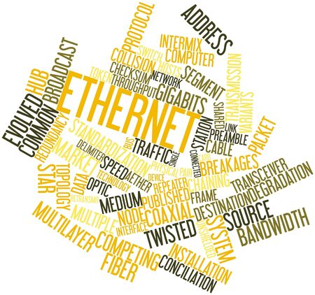 preamble: Abstract word cloud for Ethernet with related tags and terms Stock Photo
