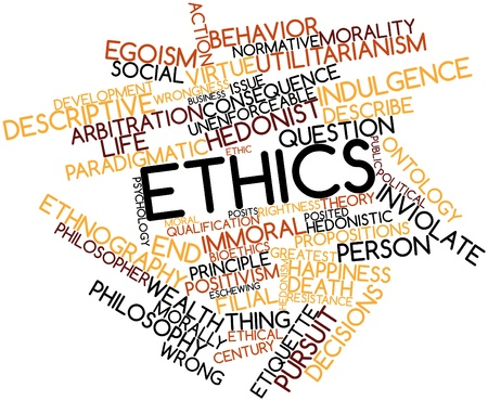 etica: Nube palabra abstracta para la Ética con etiquetas y términos relacionados Foto de archivo
