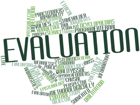 evaluate: Abstract word cloud for Evaluation with related tags and terms