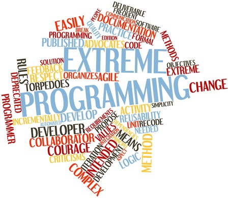advocates: Abstract word cloud for Extreme programming with related tags and terms