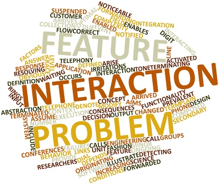 Abstract word cloud for Feature interaction problem with related tags and terms Stock Photo - 16084160