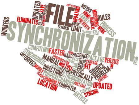 syncing: Abstract word cloud for File synchronization with related tags and terms Stock Photo