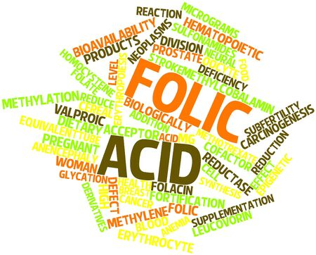 Abstract word cloud for Folic acid with related tags and terms Stock Photo - 16084034