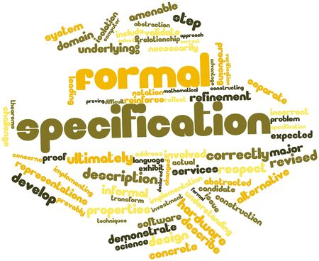 specification: Abstract word cloud for Formal specification with related tags and terms Stock Photo